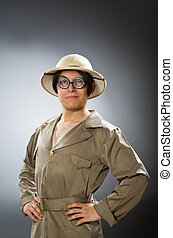 Man wearing safari hat in funny concept