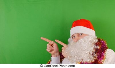 Man wearing Santa Claus's hat with white beard, New year 2019 and christmas, on green Chroma key