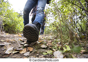 Man Wearing Shoes While Hiking On Forest Trail