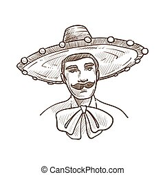 Man wearing sombrero hat and big bow vector illustration