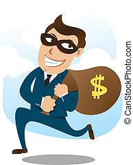 man wearing suit stealing money