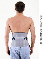 Man Wearing Supportive Brace on Lower Back