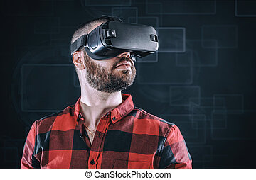 Man wearing virtua glasses