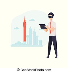 Man wearing virtual reality digital glasses using tablet, guy using optical device for real visualisation and simulation vector Illustration on a white background