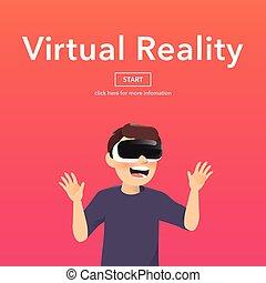 Man wearing virtual reality glasses.