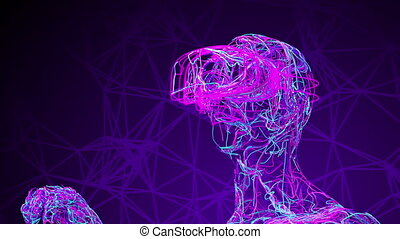 Man Wearing Virtual Reality Glasses Consisting Of Tangled Colored Wires. 4K. 3840x2160. UHD. 3D Animation.