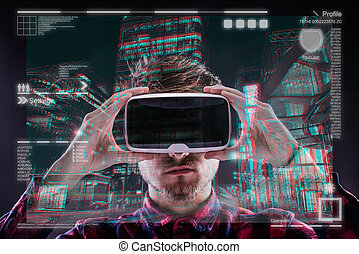 Man wearing virtual reality goggles - Hipster man in checked...