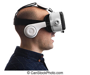 Man wearing virtual reality goggles. Isolated
