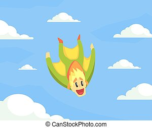Man Wearing Wing Suit Flying in Sky, Skydiving Extreme Sport Vector Illustration
