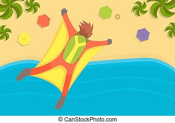 Man Wearing Wing Suit Flying in Sky Under Tropical Beach, Skydiving Extreme Sport Vector Illustration