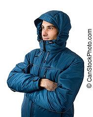man wearing winter jacket