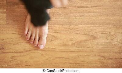 man wears black socks. close-up. man dressed - man wears...
