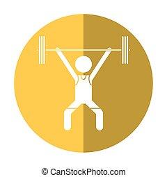 man weight lifter sport athlete shadow