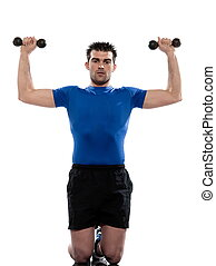 man weight training Worrkout Posture exercising on white ...