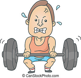 Man Weightlifting - Illustration of a Man lifting up a heavy...