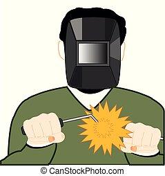 Man welder in mask works with welding