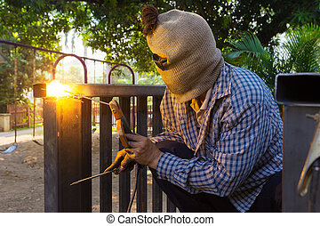 Man welding steel construction