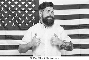 Man well groomed hipster stylish appearance american flag background, working for government concept