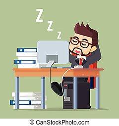 man, werken, zakelijk, slapende