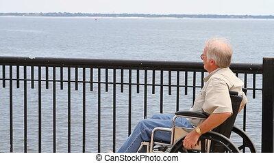 Man Wheelchair Water