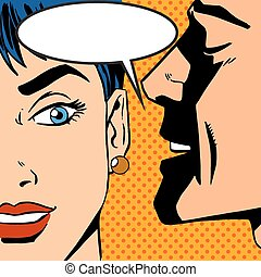man whispers girl Pop art vintage comic - Pop art vintage...