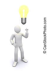 man who got bright bulb idea 3d illustration