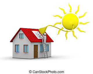 solar energy - man who installs a solar energy system on a...