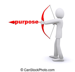 man who pulls an arrow bow, arrowhead word is purpose 3d illustration