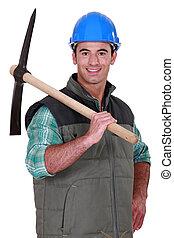 Man wiearing blue hard hat