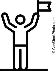 Man winner icon, outline style