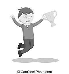Man winning trophy vector illustration design