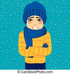 Man Winter Shivering