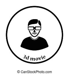 Man with 3d glasses icon