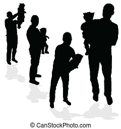 man with a baby black silhouette