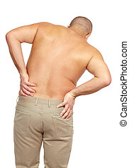 Man with a back pain.
