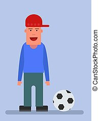 Man with a ball, illustration, vector on white background.