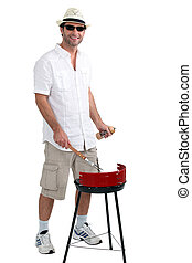 man with a barbecue