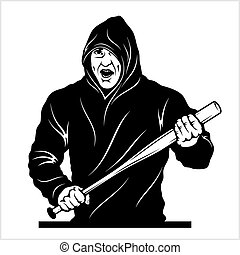Man with a baseball bat. Thug - Ghetto Warrior. Vector ...