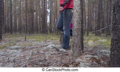 Man with a basket walks in the coniferous forest and looks for mushrooms.