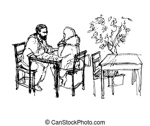 man with a beard and a girl sitting at a table in a cafe