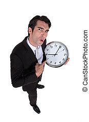 Man with a big clock.