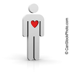 Man with a red big heart