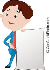 Man with a Blank Sign Board or paper, illustration