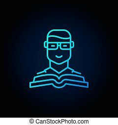Man with a book blue icon