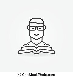 Man with a book vector icon