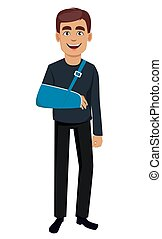 Man with a broken arm. Cheerful cartoon character with a ...