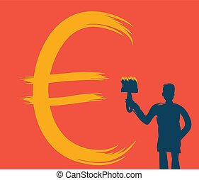 Man with a brush draws money sign, vector illustration, red...