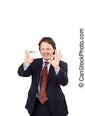 Man with a business card giving a perfect sign
