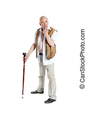 Man with a cane holds his finger in the mouth