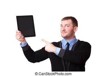 Man with a clipboard in his hand and raised finger up, isolated on white